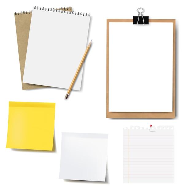 Set di notebook mockup e carta isolato Vettore Premium