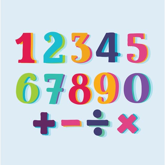 Set di numeri di carta a colori Vettore Premium
