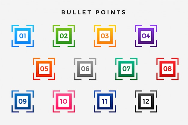 Set di numeri di punti elenco proiettile quadrati Vettore gratuito