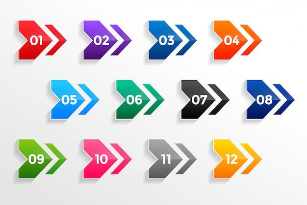 Set di numeri di punti elenco puntato geometrico di freccia Vettore gratuito