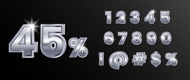 Set di numeri di testo in argento cromato platino Vettore Premium