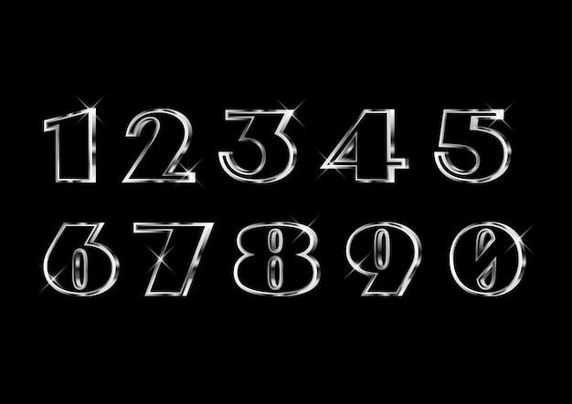 Set di numeri in argento elegante classico classico Vettore Premium