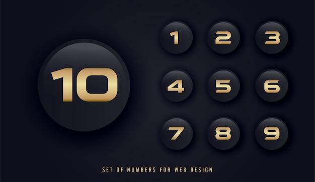 Set di numeri per il web design Vettore Premium