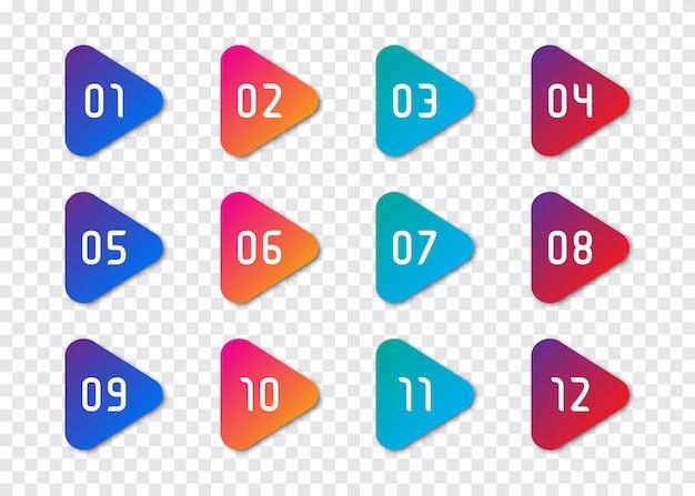 Set di numeri punto elenco da 1 a 12 Vettore Premium