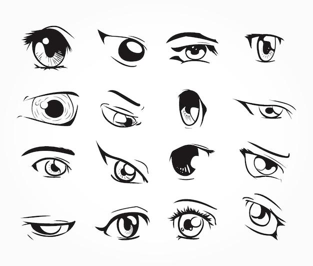 Set di occhi manga bianco nero scaricare vettori premium