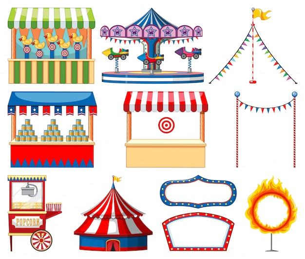 Set di oggetti da circo Vettore gratuito