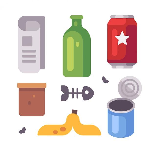 Set di oggetti del cestino. giornale, bottiglia di vetro, lattine, icone piatte a buccia di banana Vettore Premium