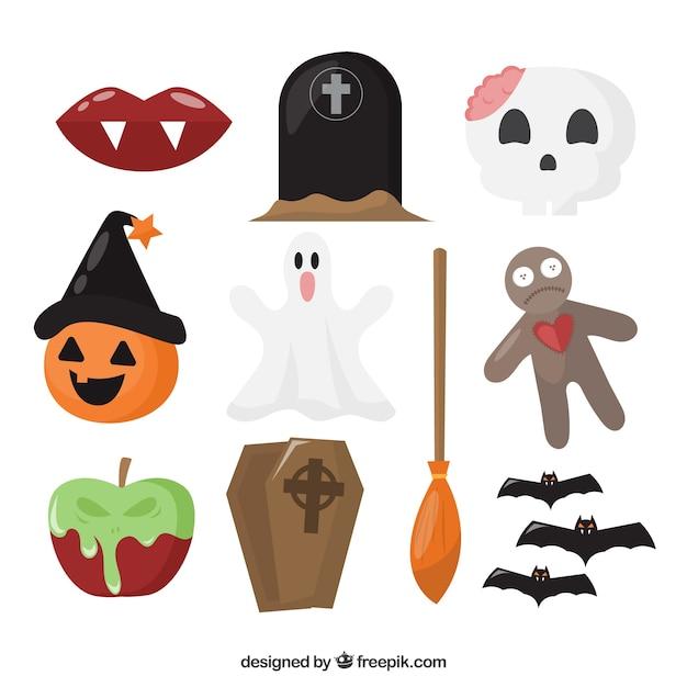 set di oggetti di halloween scaricare vettori gratis