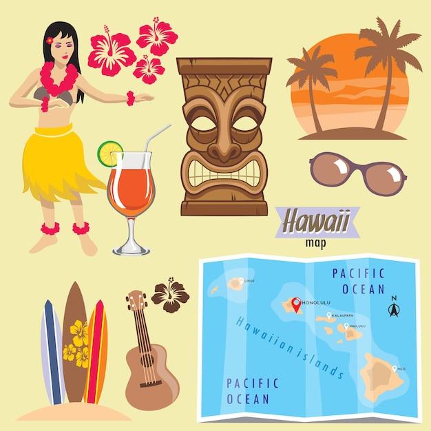 Set di oggetti hawaii Vettore Premium
