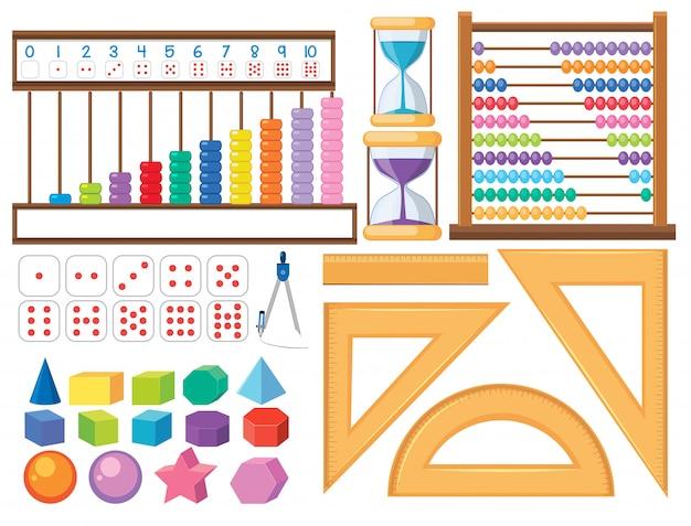 Set di oggetti matematici Vettore Premium