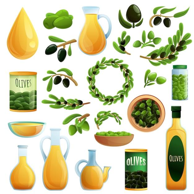 Set di olive, stile cartoon Vettore Premium