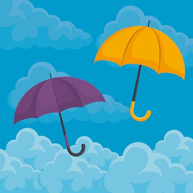 Set di ombrelloni nel cielo Vettore Premium