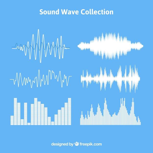 Set di onde sonore con diversi disegni Vettore gratuito