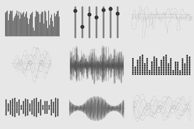 Set di onde sonore Vettore Premium