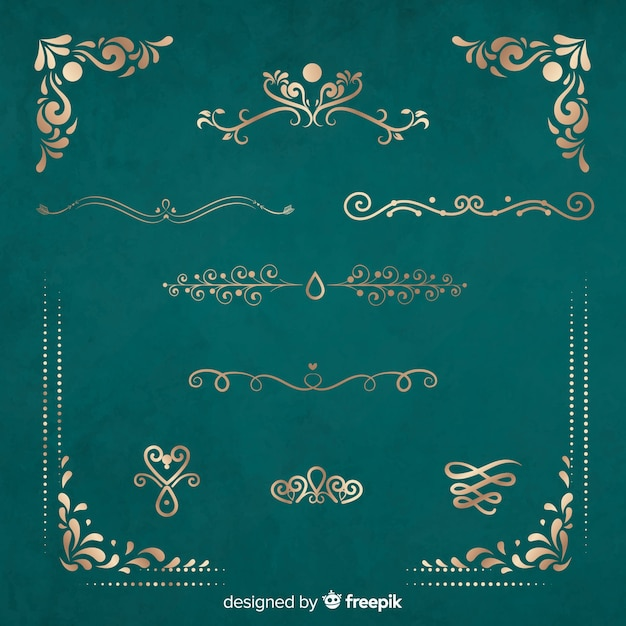 Set di ornamenti d'oro Vettore gratuito