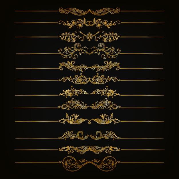 Set di ornamenti di damasco vettoriale. Vettore Premium