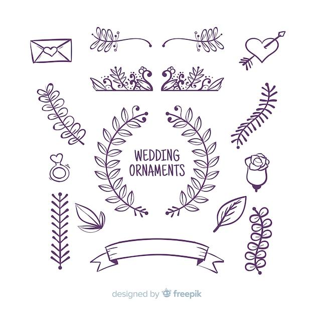 Set di ornamenti di nozze disegnati a mano Vettore gratuito
