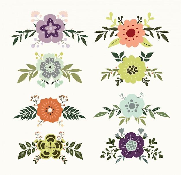 Set di ornamenti floreali disegnati a mano Vettore Premium