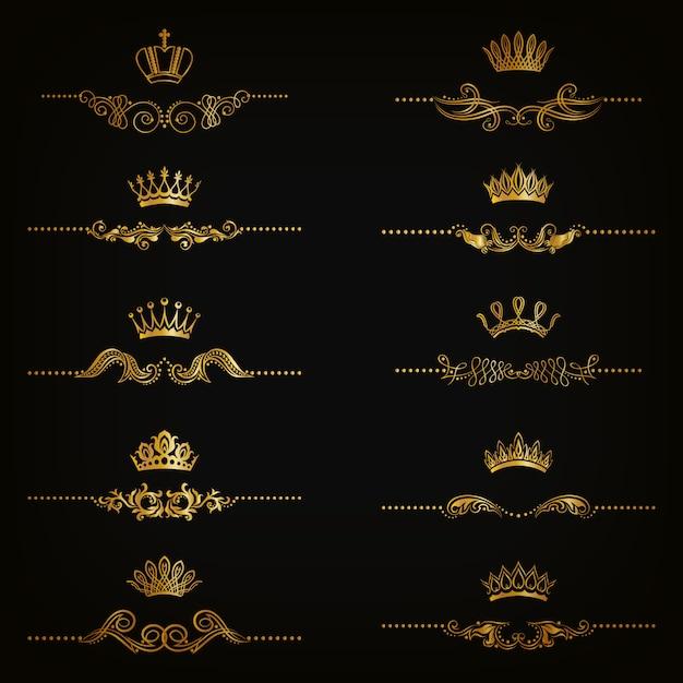 Set di ornamenti in damasco a filigrana. elementi floreali dorati, bordi, divisori, cornici, corone Vettore Premium