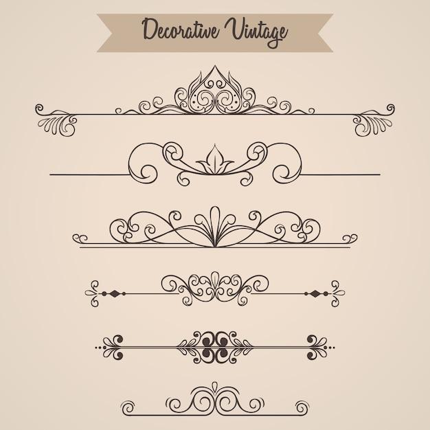 Set di ornamenti vintage o elementi vintage Vettore Premium