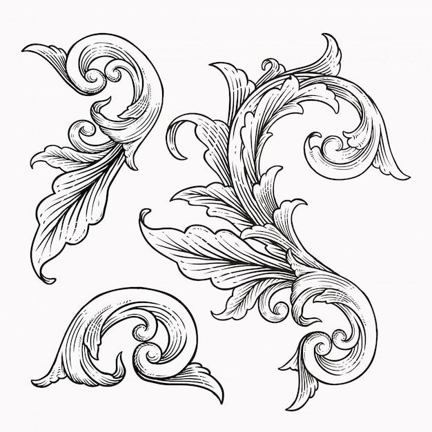 Set di ornamento di scorrimento barocco cornice d'epoca Vettore Premium