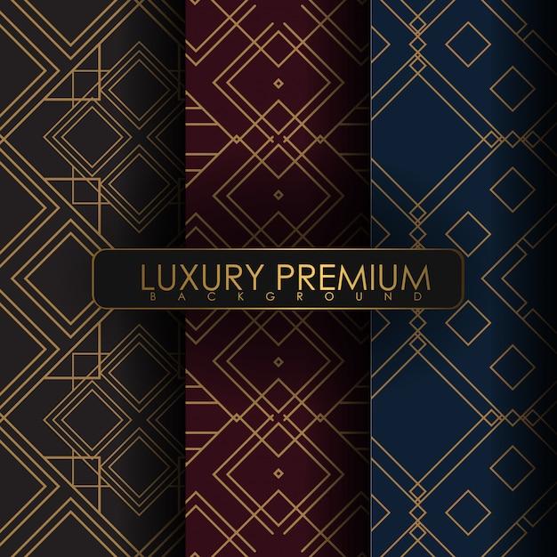 Set di ornamento senza cuciture Vettore Premium