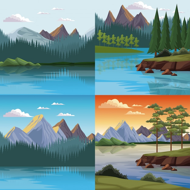 Set di paesaggi colorati di natura scaricare vettori premium for Disegni colorati paesaggi