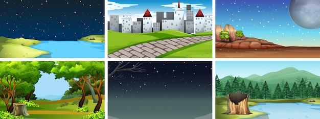 Set di paesaggio naturale Vettore gratuito