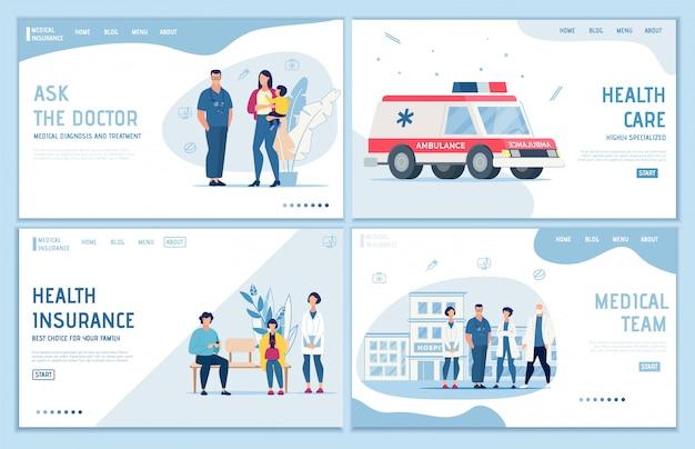 Set di pagine di destinazione per assicurazioni, supporto e primo soccorso Vettore Premium