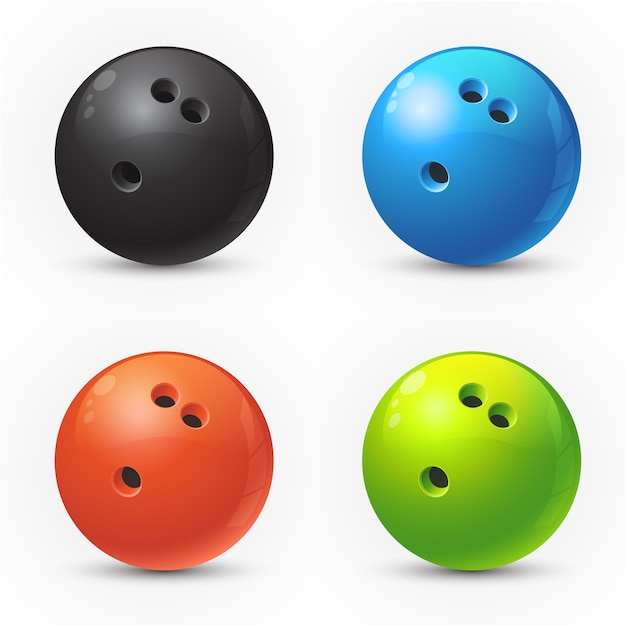 Set di palle da bowling colorate Vettore Premium