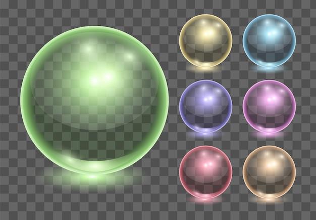 Set di palline di vetro trasparenti realistici Vettore Premium