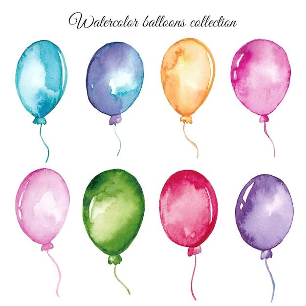 Set di palloncini acquerello Vettore Premium