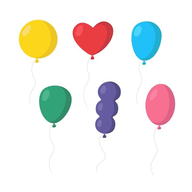 Set di palloncini colorati varie forme Vettore Premium