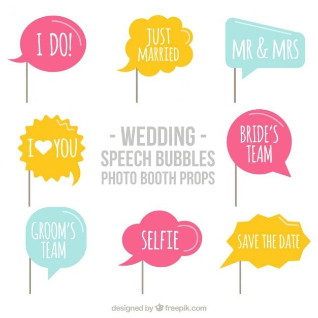 Set di palloncini di dialogo con messaggi di nozze per photo booth Vettore gratuito