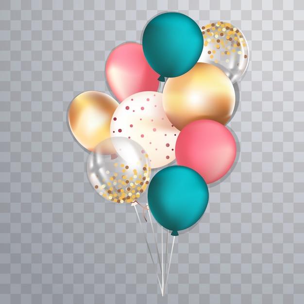 Set di palloncini lucidi metallici e trasparenti realistici Vettore Premium