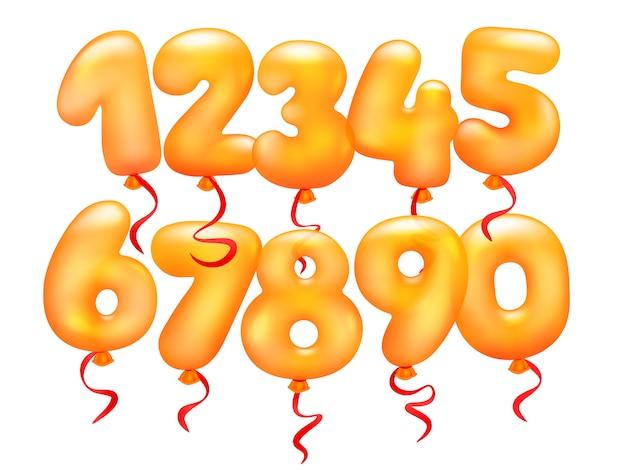 Set di palloncini realistici 3d. da 0 a 9 cifre Vettore Premium