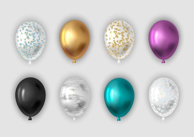 Set di palloncini realistici. Vettore Premium