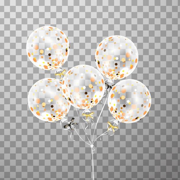 Set di palloncino bianco trasparente con coriandoli isolato nell'aria. palloncini festa glassati per la progettazione di eventi. decorazioni per feste di compleanno, anniversario, celebrazione. brillare palloncino trasparente. Vettore Premium