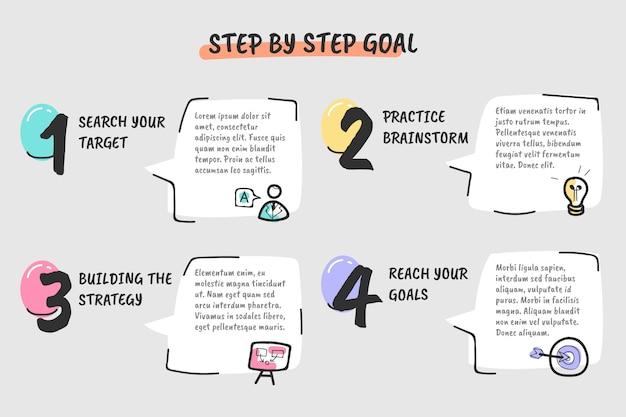 Set di passaggi di infografica creativa Vettore gratuito