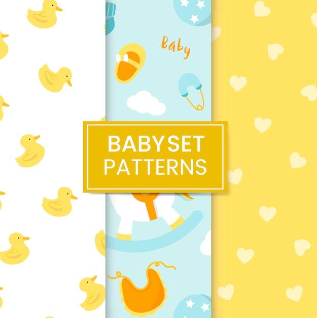 Set di pattern per la scuola materna Vettore gratuito