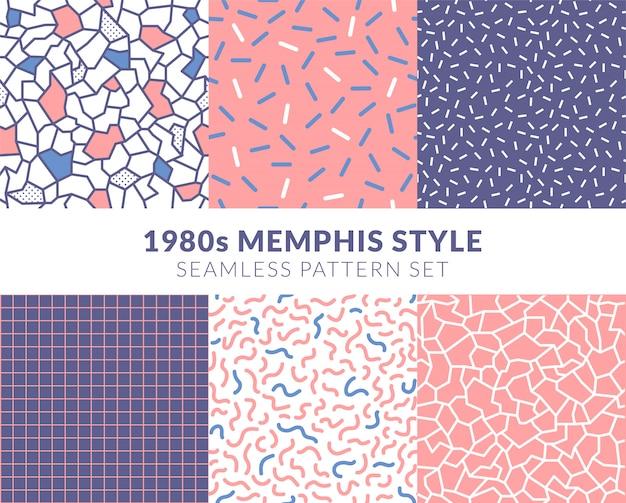 Set di pattern senza soluzione di continuità in stile memphis degli anni '80 rosa pastello Vettore Premium