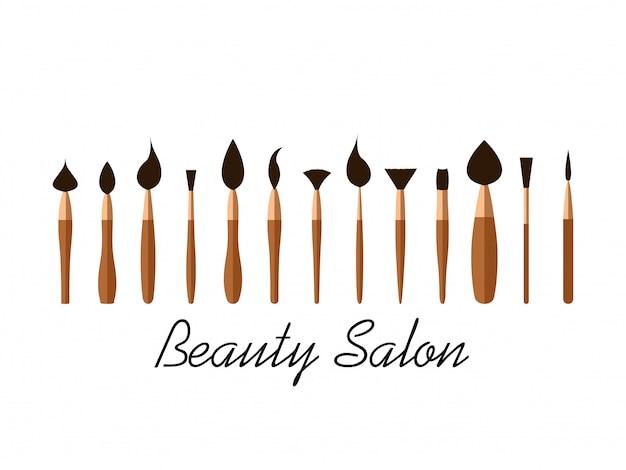 Set di pennelli cosmetici per salone di bellezza Vettore Premium