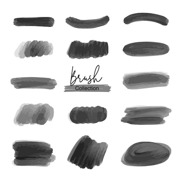 Set di pennelli neri Vettore Premium