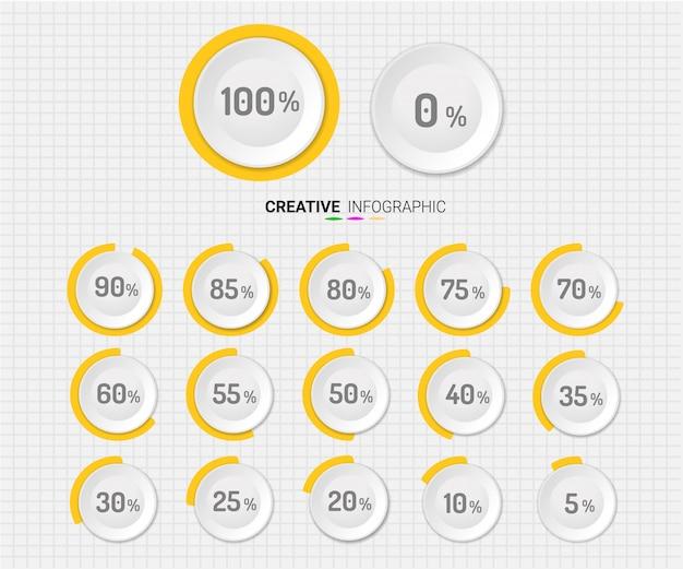 Set di percentuale del cerchio Vettore Premium