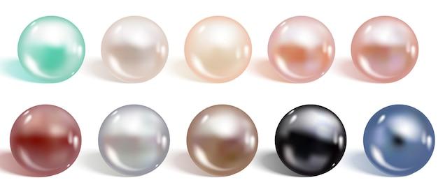 Set di perle di colori diversi realistici. Vettore Premium