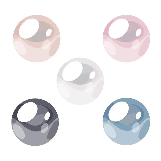 Set di perle in stile astratto. illustrazione vettoriale Vettore Premium
