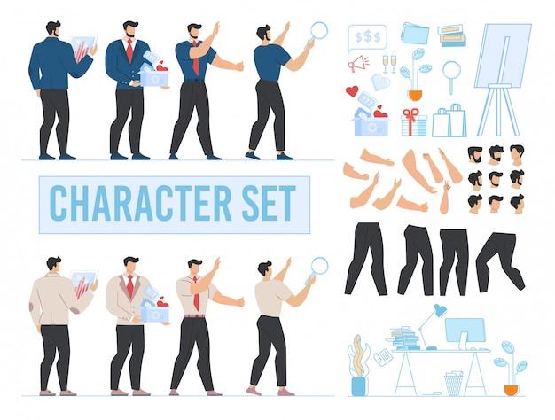 Set di personaggi animati da ufficio, ufficio e accessori Vettore Premium