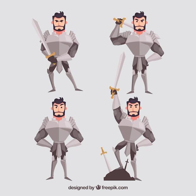 Set di personaggi cavaliere con armatura Vettore gratuito