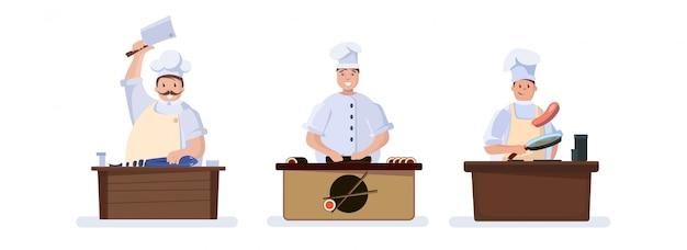 Set di personaggi che cucinano chef. Vettore Premium