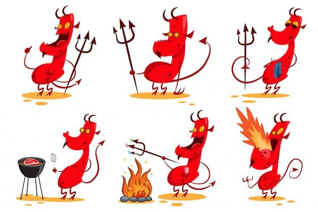 Set di personaggi dei cartoni animati del diavolo. Vettore Premium